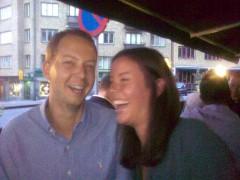 """Niklas och Malin på restaurang Caleo, där vi åt en god """"medelhavsmiddag""""."""
