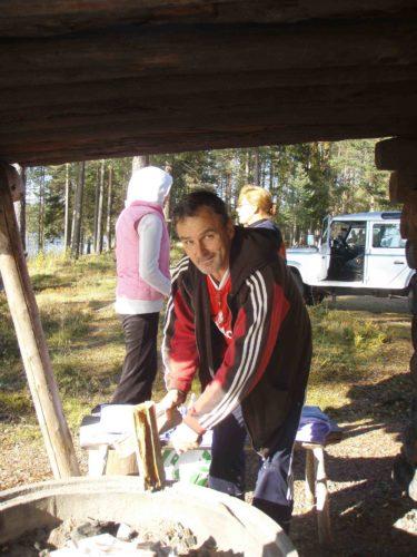 Min älskade far. Jag, syrran och alla barnen åkte upp till Älvdalen förra hösten.