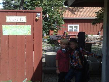 Lance släpade på sin gitarr. William och Lance spelade och showade för gästerna på det lilla trädgårds caféet i Sigtuna.