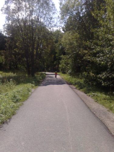 Långt där framme cyklar pojkarna mot skolan. Jag och Liv kommer efter i snigelfart.