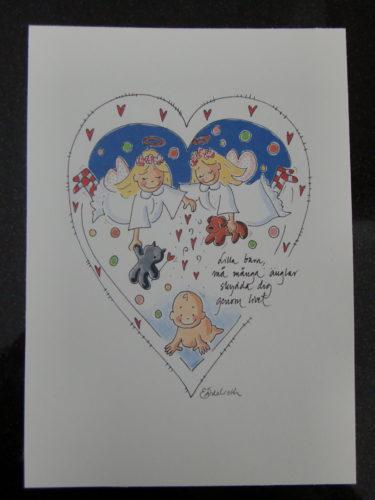 Köp denna söta tavla av Elisabet Ädelroth, och pengar går till forskning kring det lilla barnet.