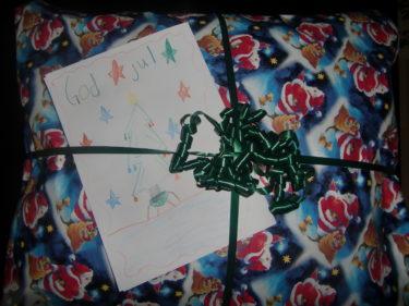 Ett hemmagjort, vackert julkort blev det också.
