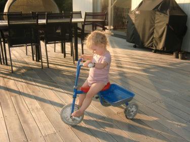 jag tog fram pojkarnas gamla trehjuling som Liv förgäves försökte trampa sig fram på.