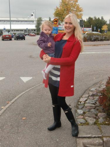 Efter Arlanda var det dags för shopping. Jag var klädd i min favoritoutfit, söndagsdressad i tights, oversizetröja och gummistövlar.
