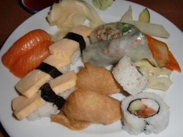 Vi åt lunch på RICE. Sushi blev det för mig.