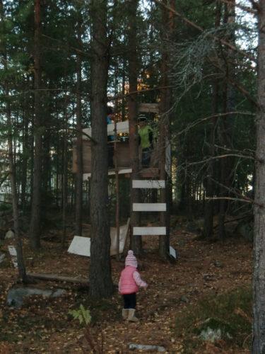 När vi kom hem så tog vi en städstund i skogen. Brädorna till pojkarnas koja hade fått ben och låg lite här och var.