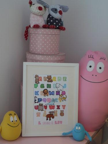 Liv har den här söta alfabetstavlan på sitt rum...