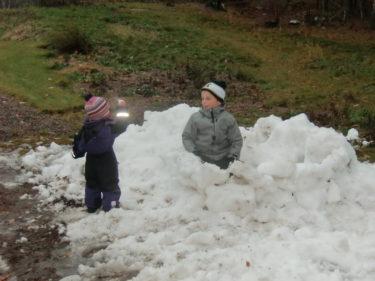 Liv kastade en snöboll rätt i nyllet på William.
