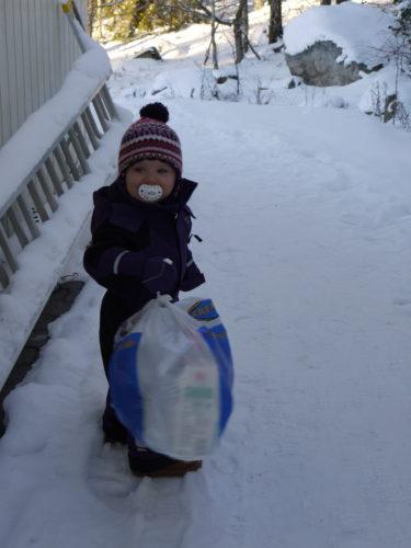 Här hemma har Ragnsells fått sig en konkurrent. Liv hjälper mig mer än gärna med att bära ut soporna på morgnarna.