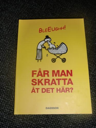 """Här är svaret på vad den sjuka och bisarra boken heter. """"Får man skratta åt det här?""""."""