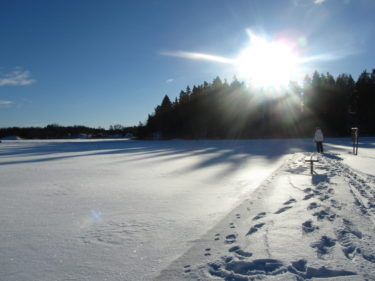 Vi gick ut på den snötäckta bryggan och satte oss. det var massor av folk ute på isen som pronerade med sina hundar, åkte skridskor och barn som lekte.