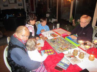"""Efter en god middag spelade vi """"Små kloka barn jagar miljöbovar"""". Ett roligt och allmänbildande spel för barn. Vi hade riktigt kul och William tog hem segern. Tror mamma och Gunnar spar på elen för det var iskallt. jag satt med pälsväst och halsduk och en varm bebiskropp i famnen, ändå frös jag."""