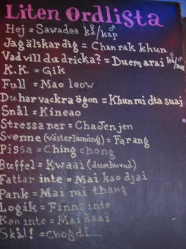 En Thai-ordlista.