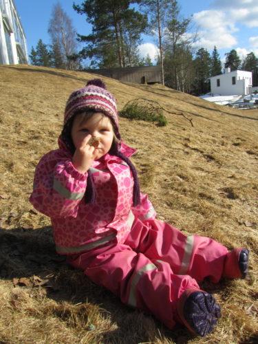 Igår började dagen med frost med efter några timmar visade sig vårsolen. Efter förskolan på väg hem ville inte Liv gå in. Hon satt på gräsmattan utanför huset och luktade på vissna löv. Hon blir nog gladare när tussilagon kommer så hon hittar något roligare att lukta på.