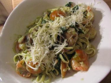 Vi åt pasta på Vapiano. Jag åt en med scampi och pesto. Gott!
