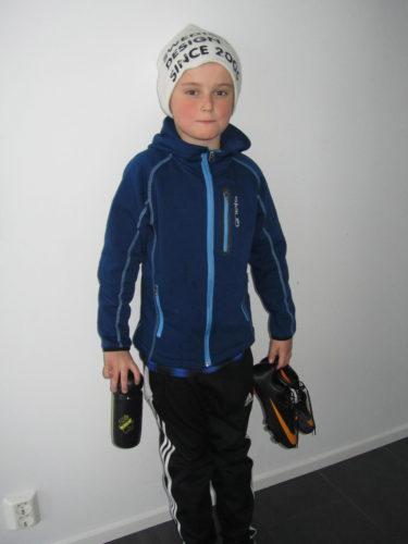 William redo för fotbollsträning.