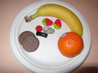 I vår loge bjöds vi på ett fat med frukt och godis. Tur att inte Calle ville ha apelsinen :-)