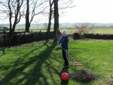 Efter några mutor ställde William och Emilia upp på att ta bort grenar och kvistar från gräsmattan, så att Urban lättare kan klippa den.