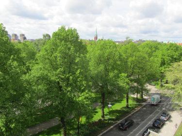 Imorse vaknade jag och gick ut på balkongen på hotellet och såg ut öevr Humlegården.