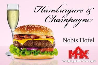 Perfect match. Champagne och Max-hamburgare på rummet.