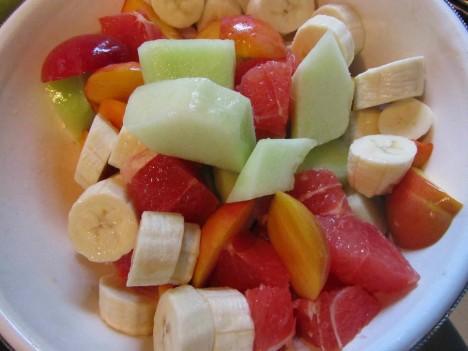 Grapefrukt, melon, banan och persika var en god blandning.