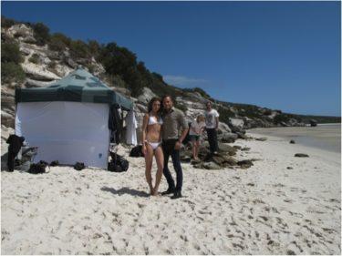 Modellen för sminket och Jonas på en strand i Cape Town.