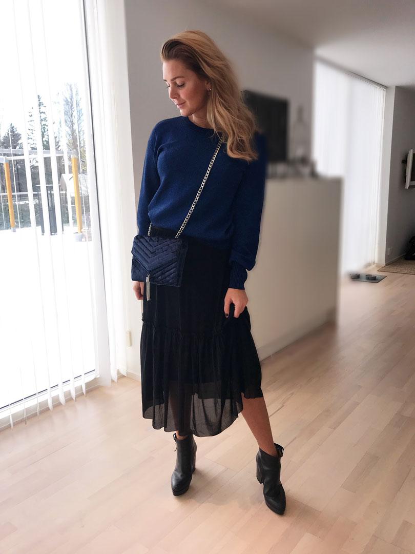 08e83715f611 En glittrig tröja med liten puff vid ärmslutet, en vadlång kjol med  volangkant samt en ursnygg väska i djupblå sammet och en silvertassle.